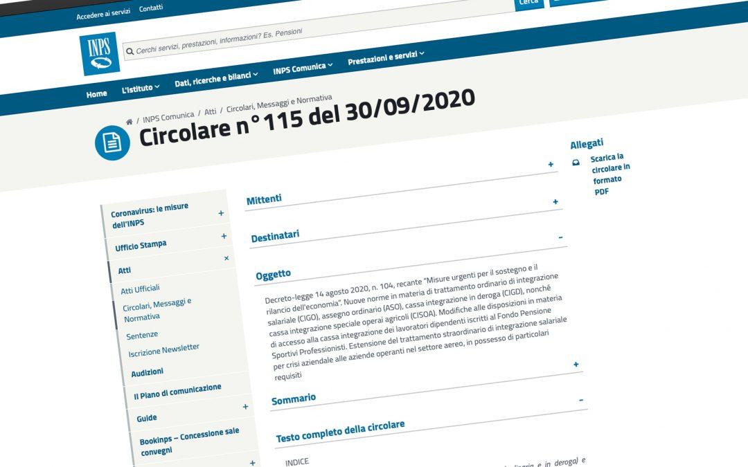 Circolare INPS n. 115/2020. Le prime indicazioni sul Decreto Agosto