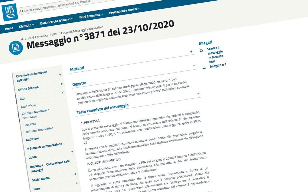 Messaggio INPS n. 3871/2020. Periodo di sorveglianza attiva dei lavoratori